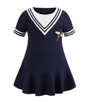 e36881ce93 vestido azul marino al por mayor-New Girl Navy Wind Falda plisada Vestido  de manga