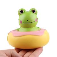 ingrosso telefono di rana-2019 Squishies più caldi Soft Scented PU Frog Doughunt Crescita lenta che cresce la ciambella del giocattolo di decompressione per le cinghie del telefono cellulare DHL libero