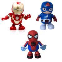 elektrikli mini ışıklar toptan satış-DANCE KAHRAMAN Dans Robotları-Mini Dans Demir Adam Marvel Parmaklar Avengers Oyuncaklar, Dans Robotu Işıkları Elektrikli Müzik Oyuncakla Müzik