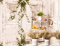 antike weiße vasen großhandel-7x5FT Antique White Wood Türrahmen Vine Branch Blumen Vase Benutzerdefinierte Fotostudio Hintergrund Vinyl 220 cm x 150 cm