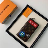 kahverengi deri toptan çanta toptan satış-2019 yeni marka cüzdan kahverengi seyahat tarzı baskı fermuar deri çanta çanta çantalar kadın tote çanta kart sahibinin ABD-8
