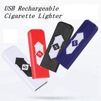 baterias isqueiros venda por atacado-Isqueiro USB bateria recarregável cigarro eletrônico cigarro do isqueiro à prova de vento eletrônico Isqueiros ZZA1300 100PCS