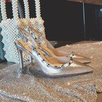 zapatos de ballet de boda al por mayor-Zapatos de vestir de boda de tacones altos de las mujeres famosas marcas sexy zapatos de ballet de moda de tacones altos de mujer de cuero dorado
