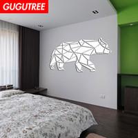 duvar kağıdı ayna ev toptan satış-Süslemeleri Ev 3D ayı karikatür ayna sanat duvar sticker dekorasyon Çıkartmaları duvar boyama Çıkarılabilir Dekor Duvar Kağıdı G-390