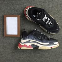 sapatos casuais de mulheres bege venda por atacado-Novo Luxo Pai Sapatos para Mulheres Dos Homens Tênis Preto Bege Sapatos Casuais Moda Paris 17FW Triplo-S sapatos Sapatilha Triplo S Chaussures