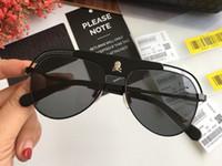 Wholesale red mirror sunglasses aviator online - Authentic Luxury Designer Aviator Sunglasses Fashion mens brand classic outdoor Style Glasses skull Logo UV400 Eyewear with Package