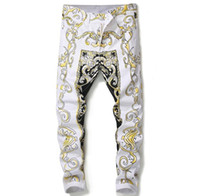 blumendruck denim groihandel-Top Fashion European Flower Print Jeans Herren Skinny White Freizeithosen Lange Hosen # 584