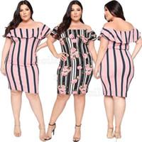 dichtes minikleid plus größe großhandel-Sommerstreifenkleid 2019 Schulterfreies Kleid in Übergröße mit Lotuskragen Enger Rock Lässiges Kleid mit Print Mode sexy XL-5XL
