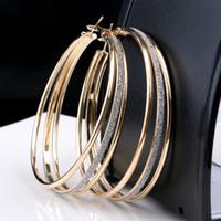 pendientes de aro únicos para las mujeres al por mayor-Mujeres únicas de moda de oro Rhinestone cristales 1 pendientes de aro Earing boda compromiso joyería