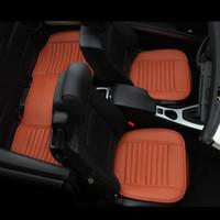 kaliteli koltuk kapakları araba toptan satış-Kalite PU Araba Koltuğu Kapağı Nefes Deri Ped Mat Oto Sandalye Minderi 3 adet için ön Arka koltuk örtüsü Gri Renk turuncu Renk