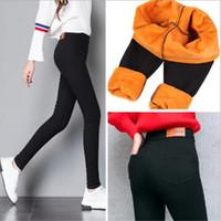 siyah ayaksız tozluklar toptan satış-Pantolon Kış Kadın Kalın Sıcak Spor Tayt Altın Fleeces Ayaksız Tayt Kadın Sıska Siyah Legging Pantolon P8496