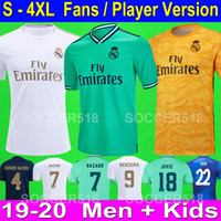 madrid futebol venda por atacado-Top 2019 2020 Real Madrid HAZARD nova camisa de futebol branco terceiro afastado camisa de futebol verde ISCO SERGIO RAMOS PLAYER VERSION ZIDANE jerseys real madrid soccer jerseys