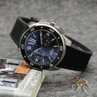 Wholesale cars wristwatches for sale - Group buy Top Mens Sports Quartz CAR CALIBRE DE W7100057 MM Sapphire Dial Stainless Steel Rubber Strap Mens Luminous Date WristWatch