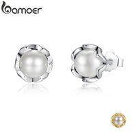 Wholesale fresh water stud earring for sale - Group buy BAMOER Sterling Silver Cultured Elegance Stud Earrings With White Fresh Water Cultured Pearl Sterling Silver Jewelry PAS420