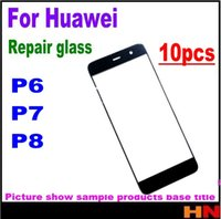 huawei lcd cam toptan satış-Huawei P6 P7 P8 Yüksek Kalite LCD Ekran Ön Cam Lens için 10pcs Parçaları Ön Dış Cam Lens Değişimi Onarım