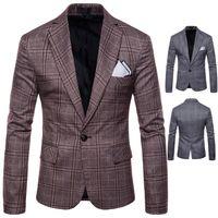 ingrosso smoking per stili di matrimoni-2019 New Grooms Smoking stile degli uomini britannici giacca formale per matrimoni Slim bello cappotto di stampa Migliori abiti da uomo fessura giacca