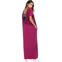 vestido muçulmano casual venda por atacado-Maxi Abaya Ocasional Bow Shirt Vestido Sexy Backless Elegante Solto Longo Robe Vestidos de Festa Vestido Muçulmano Kimono Solto Vestuário Islâmico