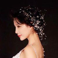 Wholesale korean wedding dress line resale online - Korean Headwear Celestial Immortals Hairdressing Bring Korean Wedding Dress Full Dress Marry Accessories Ornaments Black Line Pearl