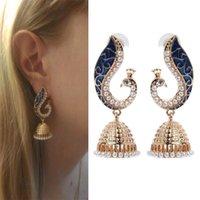 indischen pfau schmuck großhandel-New Fashion Indian Style Perle baumeln Ohrring Womens Gold Ohrringe Peacock Bohemian Anhänger Ohrringe Schmuck Geschenke