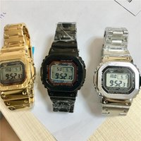 Wholesale resistant belt resale online - NEW Luxury Men s Steel Belt Wrist Watches Quantity G Style LED Display Sport Student Watch Shockproof Square Dial Silver Strap Watches