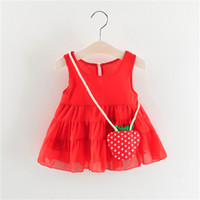 Wholesale strawberry baby girl clothes for sale - Group buy Sweet Baby Girls Tutu Dress Strawberry Bag Summer Kids Tuller Layer Lace Dresses Princess Party Sundress Children Clothing
