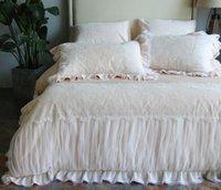 ingrosso set bianchi di biancheria da letto per matrimoni-Set di biancheria da letto Princess in cotone con pizzo Set di copripiumino di lusso Jacquard