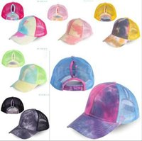 Wholesale ponytail pink for sale - Group buy Tie dyed ponytail hat Mesh Ponytail Baseball Caps Sports Adjustable Cap Women Sunhat Tie Dye Outdoor Sport Snapback Caps BBA9