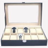kunstleder schmuck großhandel-Kunstleder Uhrenbox Vitrine Organizer 12 Slots Schmuck Aufbewahrungsbox