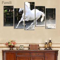 yağlı boya kanvas beyaz at toptan satış-Büyük Duvar Resimleri Için Oturma Odası Dekorasyon 5 Parça Modern Tuval Resimlerinde Beyaz At Hayvan Yağlıboya Baskılı Hiçbir Çerçeve