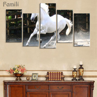 pinturas a óleo de cavalo branco venda por atacado-Grandes Retratos Da Parede Para Sala de estar Decoração 5 Peças Pinturas Modernas Da Lona Cavalo Branco Animal Pintura A Óleo Impresso Sem Moldura