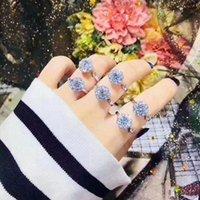 morganitischer ehering großhandel-S925 Sterling Silber offenen Kreis Ring Diamanten Morganit Prom Meghan Ehering Dekor