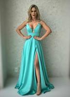 длина пола double v neck оптовых-Платья для выпускного с длинным рукавом и V-образным вырезом с разрезами Спагетти-бретельки Платья-торжества на заказ