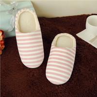 Wholesale classic velvet slippers resale online - Home Slippers For Women Soft Velvet Lady Indoor Shoes Striped Flats Slipper Winter Girl Shoes Warm Cotton Pantufas Men