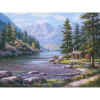 grandes pinturas de paisagem venda por atacado-Natural da arte pinturas a óleo paisagens modernas Log Cabin Retreat Artesanais para a decoração da parede grande tela