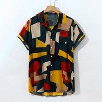 düğme bluzları kısa kollu toptan satış-Moda Erkekler gömlek Casual Kısa Kollu Düğme Boyama Büyük Beden Bluz Gömlek Erkek Hawaii gömlek camisas de hombre # Z20