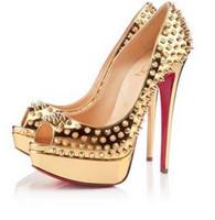 звезды одиночные оптовых-Супер звезда моды самые стильные рыбий рот заклепки красные туфли на шпильках вечернее платье высокие каблуки женские туфли Runway шоу обувь