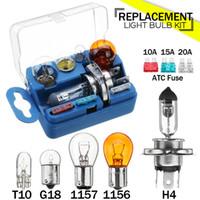 Wholesale halogen h4 kit resale online - 8Pcs Halogen bulb Emergency Light kit for Car H4 G18 Headlamp Fog light Spare Kit with A A A Fuses