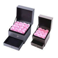 Wholesale flower soap gift sets resale online - Artificial Rose Romantic Valentine s Day Wedding Mother s Day Festival Creative High Grade Gift Rose Soap Flower Jewelry Box Set BH1277