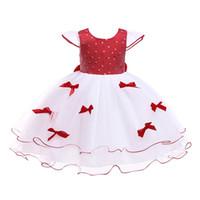 Wholesale puff bow dress online - Kids Girl Dresses Baby Princess Wedding Dresses Girl A Line Skirt Dot Bow Gauze Round Collar Puff Sleeve Back Zipper