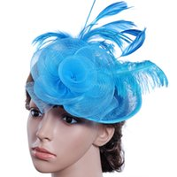 головные уборы оптовых-Hot Sales Net Feather Fascinator Big Headband Clip Wedding Bridal Women Party  Hat