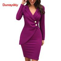 ingrosso vestito di lusso di midi-2019 marchio di moda di lusso donne abiti da donna manica lunga elegante Midi Dress 2019 New Office Lady Casual Work Blazer Dress