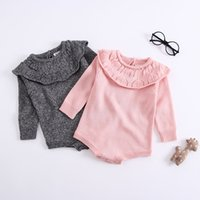 Wholesale baby winter suit cute for sale - Group buy Doll Collar Long Sleeve Knit Infants Baby Girl Clothes Romper Suit