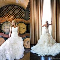 Wholesale charm wedding dresses resale online - Strapless Mermaid Wedding Dresses Charming Backless Pleated Tiers Ruffles Lace up Back robe de mariée Lace plus size wedding dresses