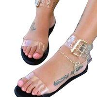 ingrosso signora signora gelatina di scarpe-Nuove donne sandali trasparenti piatto estivo gladiatore open toe chiaro gelatina scarpe da donna sandali da spiaggia romani