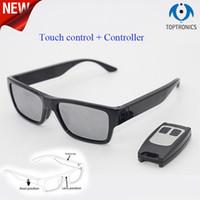 óculos invisíveis venda por atacado-New hot fhd 1080 p inteligente wearable óculos de sol com 2 pernas bateria substituível controle remoto vídeo invisível camera glasses