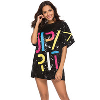 bling camisetas al por mayor-Nuevas mujeres con lentejuelas camisetas vestido con lentejuelas Hip Hop Bling Tees carta de impresión de gran tamaño Tops medio manga O-cuello Vestidos sueltos GGA1629