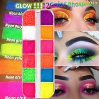 Wholesale pigment palette for sale - Group buy 12 Colors Box Fluorescent Neon Pigment Eye Shadow Makeup Palette Glitter Shimmer Eyeshadow Face Body Nail Art Cosmetics Tools