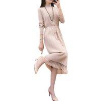 ingrosso vestito sciolto del turtleneck-Wmswjh nuove donne di modo elegante autunno inverno dolcevita manica lunga piega maglione vestito allentato lavorato a maglia sottile vestito caldo MJM123 Y190117