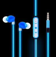 kulaklık girişi led toptan satış-K2 EL Soğuk Işık Gece Koşu Spor kulak Kulaklık Kulaklık LED Işık Parlak Kulaklıklar 3.5mm Jack Kablolu Kulaklık