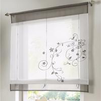 kleine vorhänge großhandel-Römischer fertiger Vorhang stickte rustikale Vorhang-Vorhänge für Küchen-Höhen-anhebbare Gaze-kleine Kaffee-Wohngestaltung